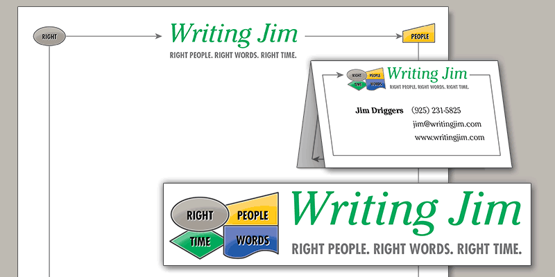 An example of branding design with custom logo, business cards and letterhead for a business called Writing Jim.